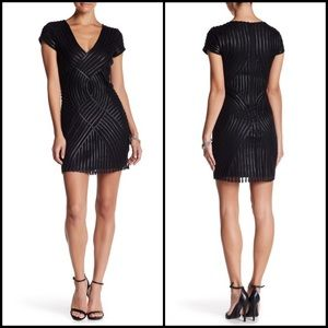 Parker Faux Leather Piping Mesh Cocktail Dress